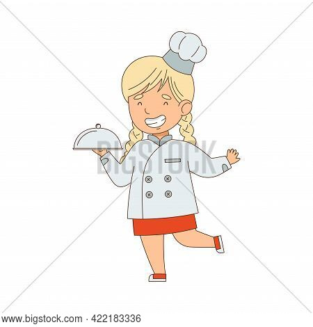 Little Blonde Girl Chef In White Toque And Jacket Holding Tray With Served Appetizing Meal Vector Il
