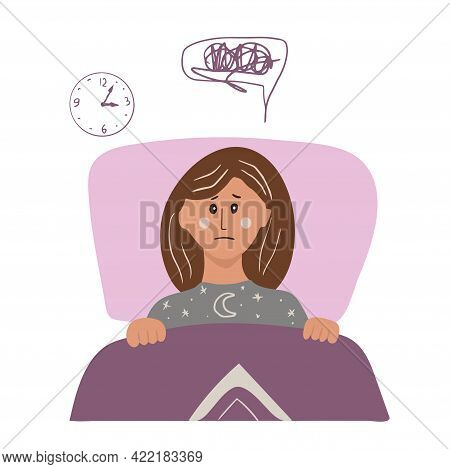 Woman Have Insomnia. A Woman Lies In Bed And Thoughts Do Not Let Her Sleep. Vector Cartoon Hand Draw