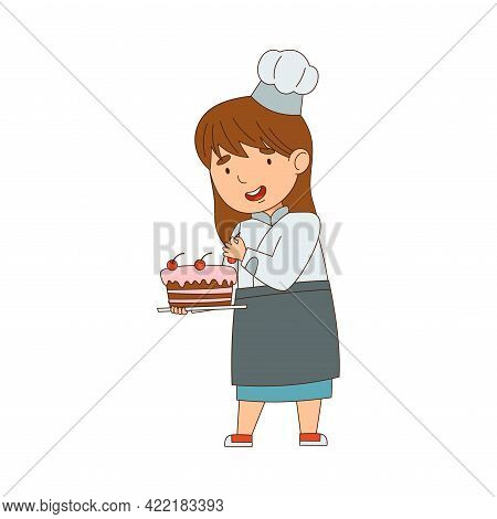 Little Girl Chef In White Toque And Jacket Decorating Cake With Cherry Vector Illustration