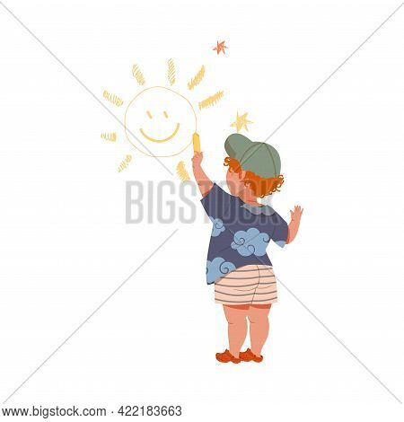 Redhead Boy With Yellow Crayon Drawing Sun On The Wall Vector Illustration