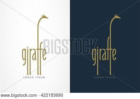 Giraffe Lettering Similar To Silhouette Of Standing Giraffe
