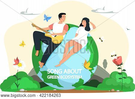 Young People Spend Free Time Outdoor. Man Plays Guitar For Woman Lying On Planet. Guy Singing Songs