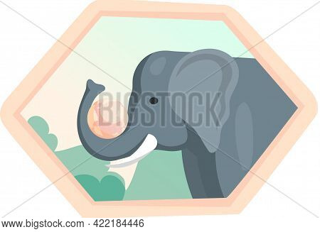 Eco Friendly, Nature Conservation, Environmental Protection. Elephant With Planet In Trunk On Framed