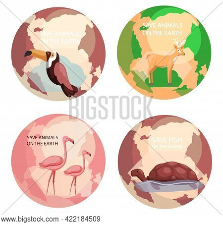 World Animal Day Banner. Set Of Illustrations About Earth Habitats, Plants And Wildlife. Biodiversit