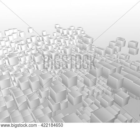 3D render of an abstract background of white cubes
