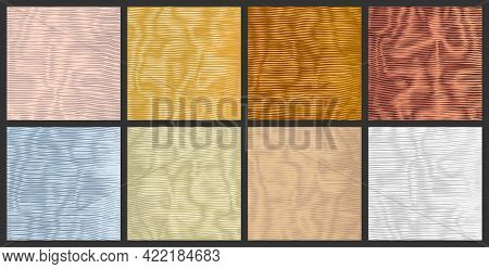 Set Of Metal Surfaces. Bright Silver Stripy Metallic Backdrop. Copper Metal Texture With Wavy, Curve