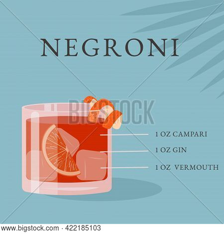 Negroni Cocktail Recipe. Alcoholic Beverage In Glass With Ice And Orange Slice On Blue Background Wi
