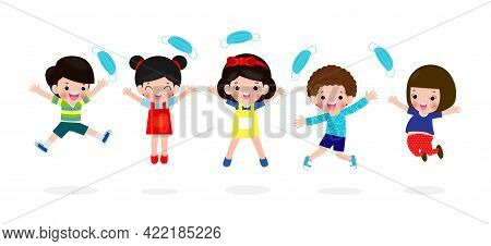 Happy Children Jumping Remove Medical Mask With Vaccine Against Covid-19 Or Coronavirus 2019-ncov, C