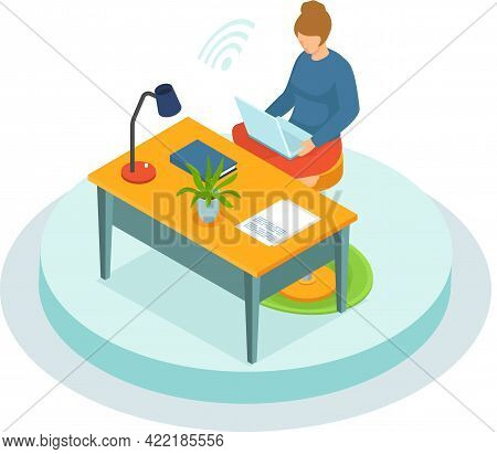 Freelancer Woman With Notebook At Table At Home Does Work Or Is Educated Remotely Use Modern Technol