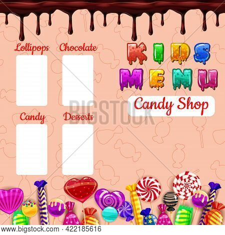 Kids Menu Candy, Sweet Different Bonbon, Lollipops, Chocolate, Jelly. Template Menu For Caffe, Cafet