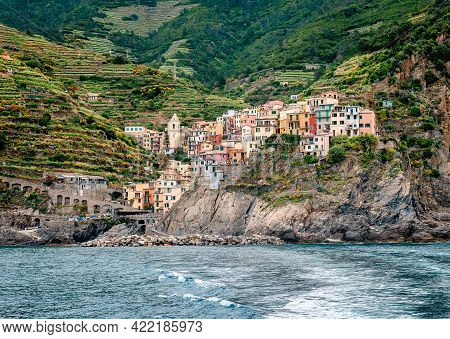Vernazza, One Of The Five Towns That Make Up The Cinque Terre Region, In Liguria, Italy. It Has No C