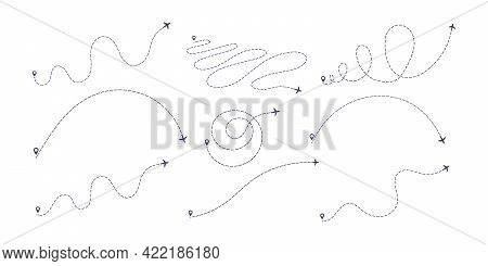 Airplane Dashed Line Path Flat Style Design Vector Illustration Set Isolated On White Background. Th