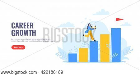 Career Ladder Climbing And Goal Achievement Business Concept Flat Style Design Vector Illustration.