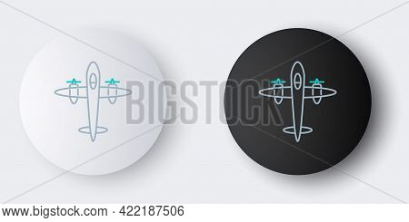 Line Old Retro Vintage Plane Icon Isolated On Grey Background. Flying Airplane Icon. Airliner Sign.