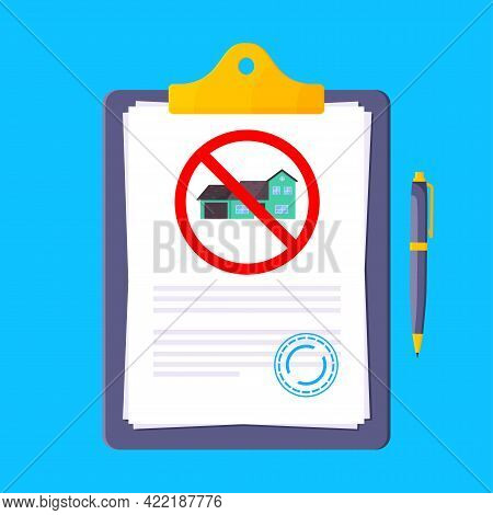 Eviction Notice Legal Document On The Clipboard With Stamp, Paper Sheets And A Pen Vector Illustrati