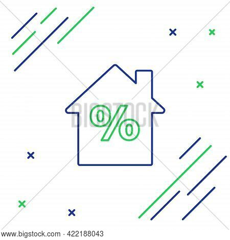 Line House With Percant Discount Tag Icon Isolated On White Background. House Percentage Sign Price.