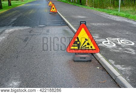 Warning Signs On Road And Cycle Path