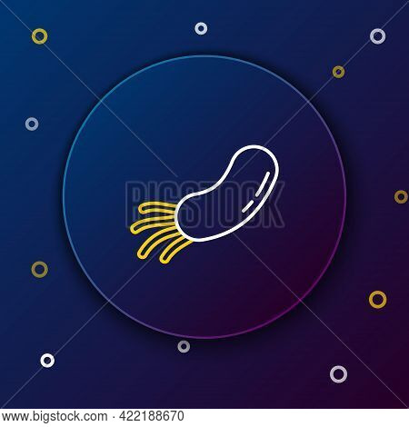 Line Bacteria Icon Isolated On Blue Background. Bacteria And Germs, Microorganism Disease Causing, C