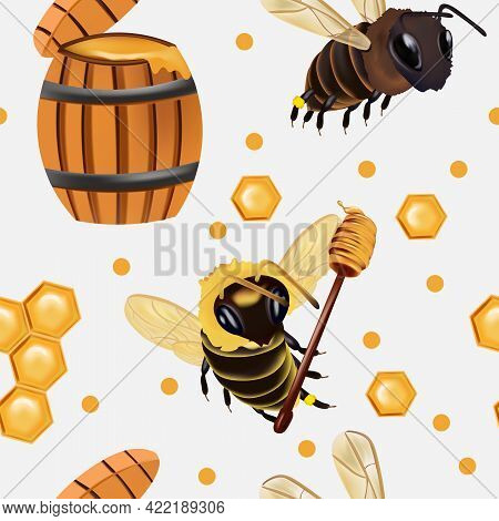 Seamless Pattern With Insect, Wasp, Beeswax, Honey Bee, Barrel Of Honey. Pattern With Insect For You