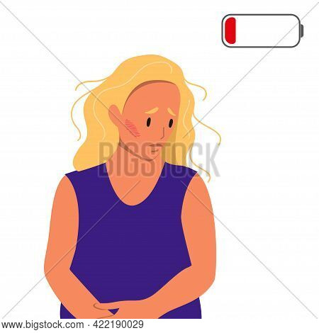 Tired Woman Sitting On The Floor. Concept Of Emotional Burnout Or Mental Disorder. Colorful Flat Ill