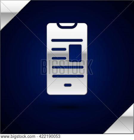 Silver Online Book On Mobile Icon Isolated On Dark Blue Background. Internet Education Concept, E-le