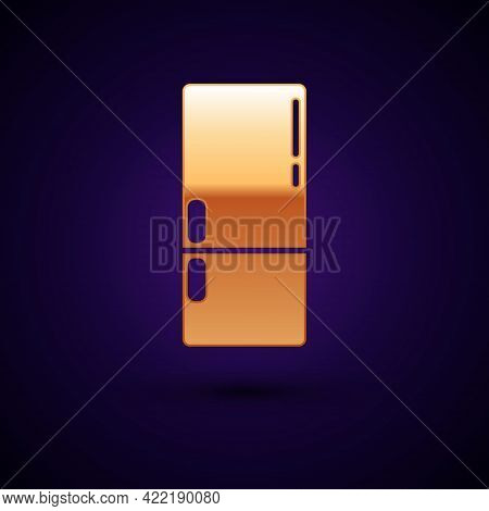 Gold Refrigerator Icon Isolated On Black Background. Fridge Freezer Refrigerator. Household Tech And