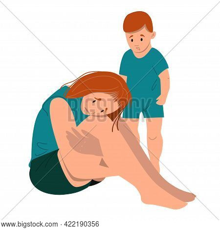 Sad Mother Sitting On The Floor With Her Crying Child. Postpartum Depression Concept. Colorful Vecto