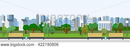 City Park Area. Benches. Trees, Shrubs And Lanterns. Beautiful Summer Cityscape In Restrained Colors