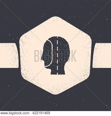 Grunge Diving Hood Icon Isolated On Grey Background. Spearfishing Hat Winter Swim Hood. Diving Under
