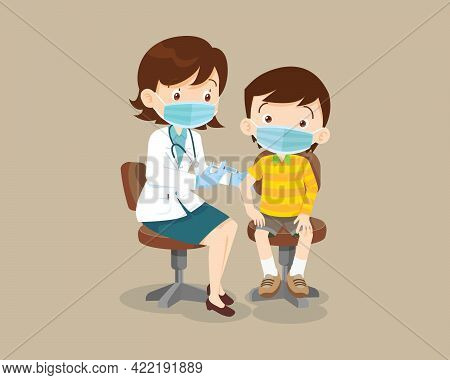 Doctor Injection Vaccine For Children Boy Wearing Protective Medical Mask.vaccination Concept For Im