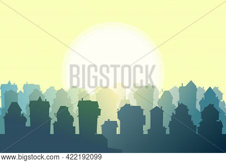 Town. Silhouette Of Cartoon Houses Of The Village Or City. Street. Day And Sun. Nice Cozy Private Re