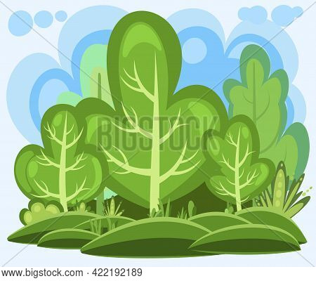 Flat Forest. Illustration In A Simple Symbolic Style. Funny Green Rural Landscape. Clouds. Comic Des
