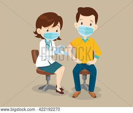 Doctor Injection Vaccine For Man Wearing Protective Medical Mask.vaccination Concept For Immunity He