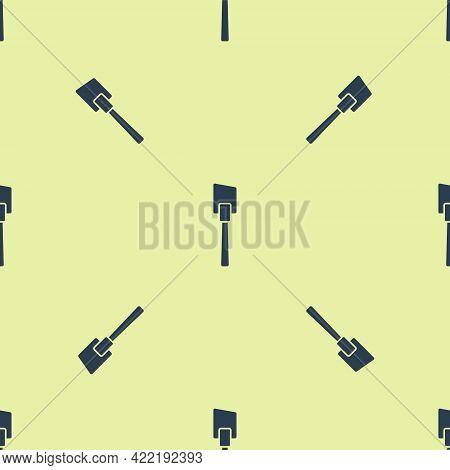 Blue Spatula Icon Isolated Seamless Pattern On Yellow Background. Kitchen Spatula Icon. Bbq Spatula