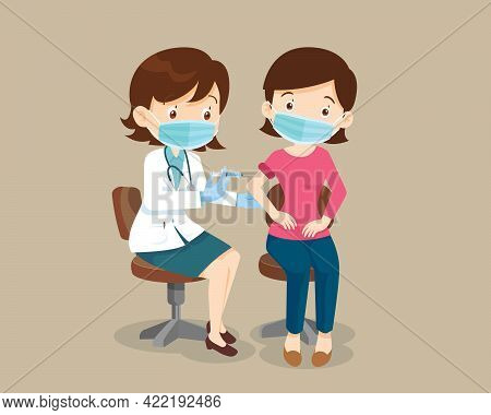 Doctor Injection Vaccine For Woman Wearing Protective Medical Mask.vaccination Concept For Immunity