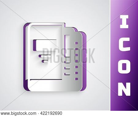 Paper Cut Office Folders With Papers And Documents Icon Isolated On Grey Background. Office Binders.