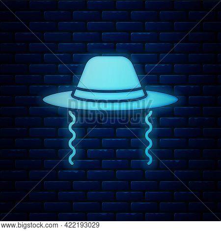 Glowing Neon Orthodox Jewish Hat With Sidelocks Icon Isolated On Brick Wall Background. Jewish Men I