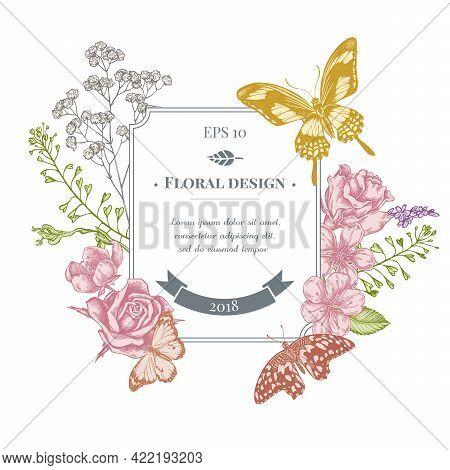 Badge Design With Pastel Shepherd S Purse, Heather, Iris Japonica, Sakura, Gypsophila, Almond, Lemon
