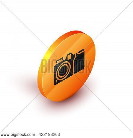 Isometric Photo Camera Icon Isolated On White Background. Foto Camera Icon. Orange Circle Button. Ve