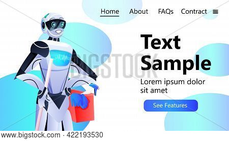 Professional Robot Cleaner Robotic Janitor With Equipment Cleaning Service Artificial Intelligence T
