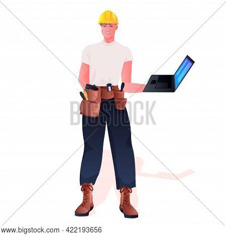 Workman In Uniform Construction Worker Using Laptop Full Length