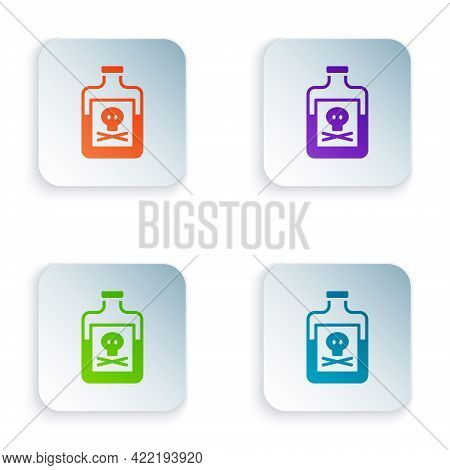 Color Poison In Bottle Icon Isolated On White Background. Bottle Of Poison Or Poisonous Chemical Tox