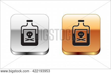 Black Poison In Bottle Icon Isolated On White Background. Bottle Of Poison Or Poisonous Chemical Tox