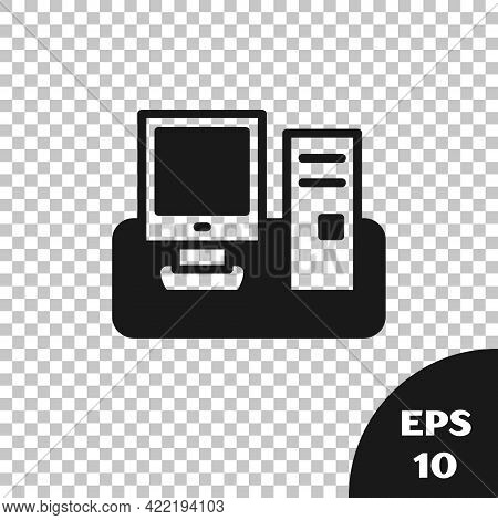 Black Computer Monitor With Keyboard And Mouse Icon Isolated On Transparent Background. Pc Component