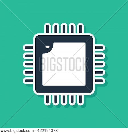 Blue Computer Processor With Microcircuits Cpu Icon Isolated On Green Background. Chip Or Cpu With C