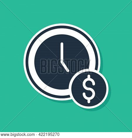 Blue Time Is Money Icon Isolated On Green Background. Money Is Time. Effective Time Management. Conv