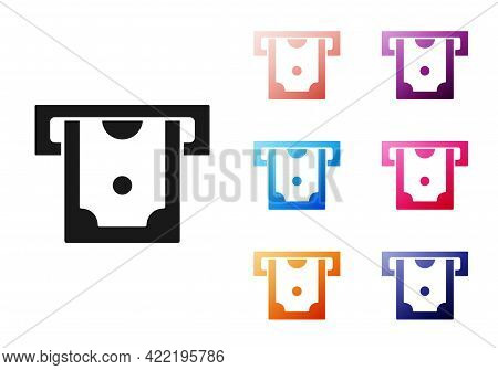 Black Atm - Automated Teller Machine And Money Icon Isolated On White Background. Set Icons Colorful