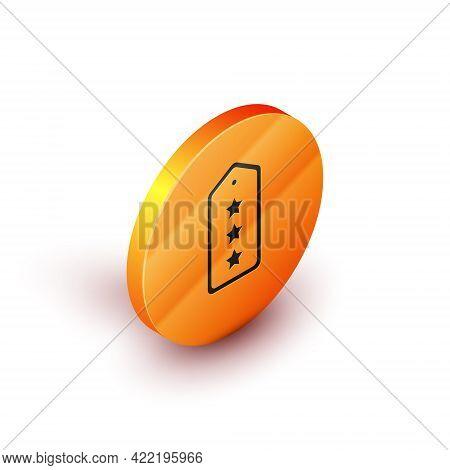 Isometric Military Rank Icon Isolated On White Background. Military Badge Sign. Orange Circle Button