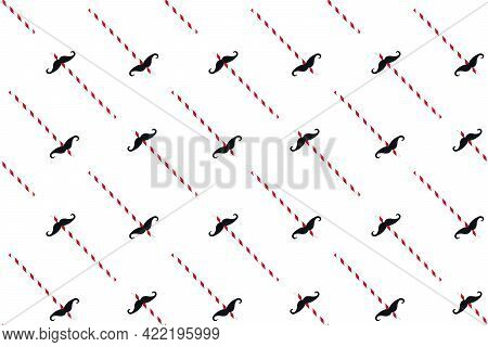 Black Mustache On Paper Drinking Straw For Party Seamless Pattern Isolated On White Background. Happ