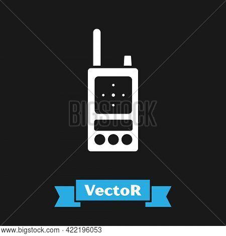 White Walkie Talkie Icon Isolated On Black Background. Portable Radio Transmitter Icon. Radio Transc